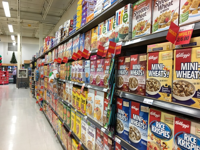 cereal box, packaging, breakfast aisle
